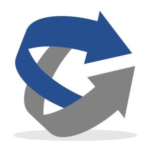 Conquest Engineering logo of two arrows that are blue and gray.
